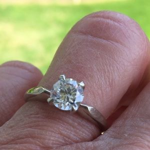 14k white gold solitaire CZ engagement ring